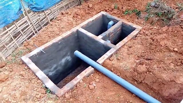 Bể phốt 3 ngăn xây bằng gạch